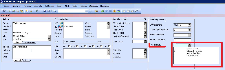 EVI8 - Typ dokladu