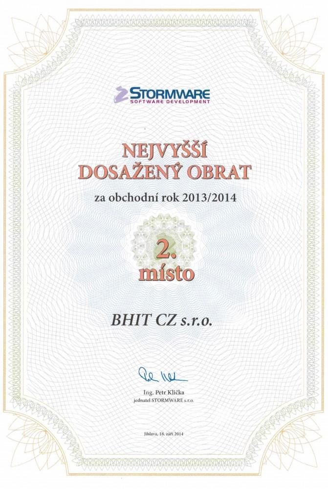 Stormware - 2. nejvyšší dosažený obrat 2013/2014