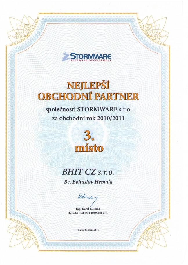 Stormware - 3. nejlepší obchodní partner 2011/2010