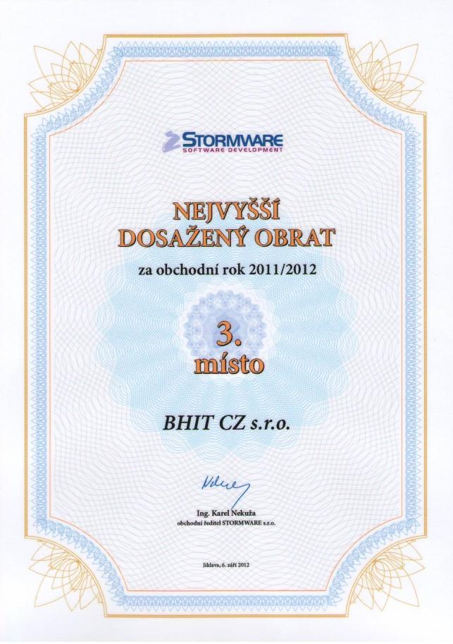 Stormware - 3. nejvyšší dosažený obrat 2011/2012