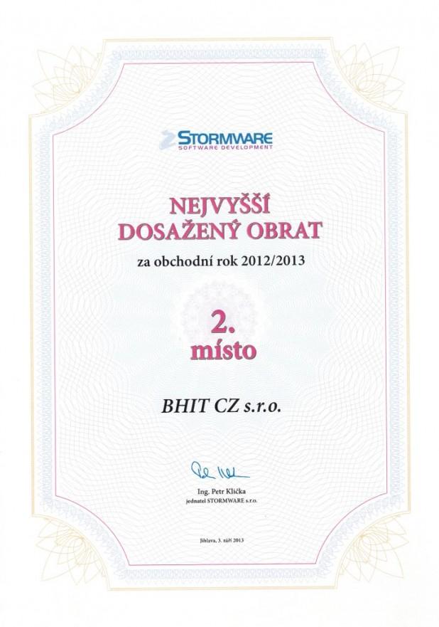 Stormware - 2. nejvyšší dosažený obrat 2012/2013