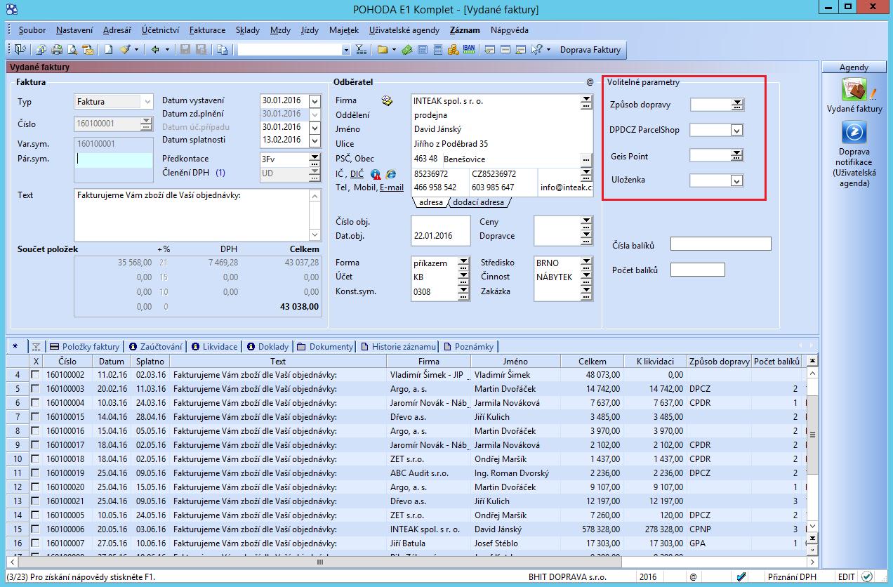 Doprava - volitelné parametry pro přednastavení z e-shopu