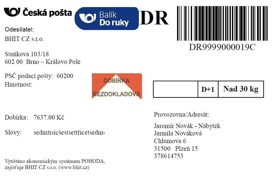 Ukázka štítku - Česká pošta Do ruky