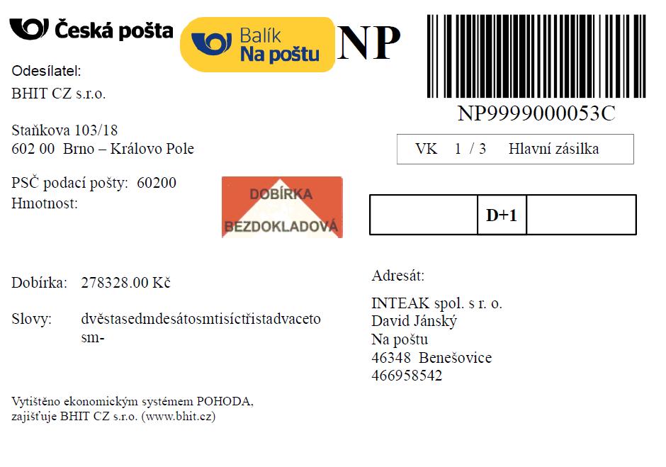 Ukázky štítku - Česká pošta Na poštu