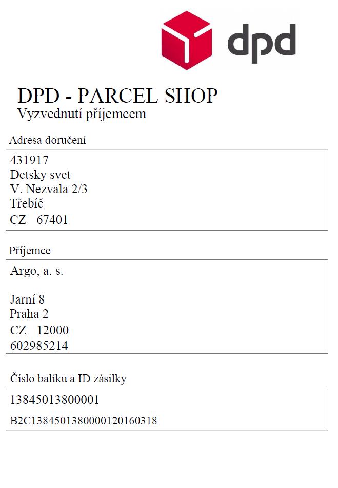 Ukázky štítku - DPD parcelshop