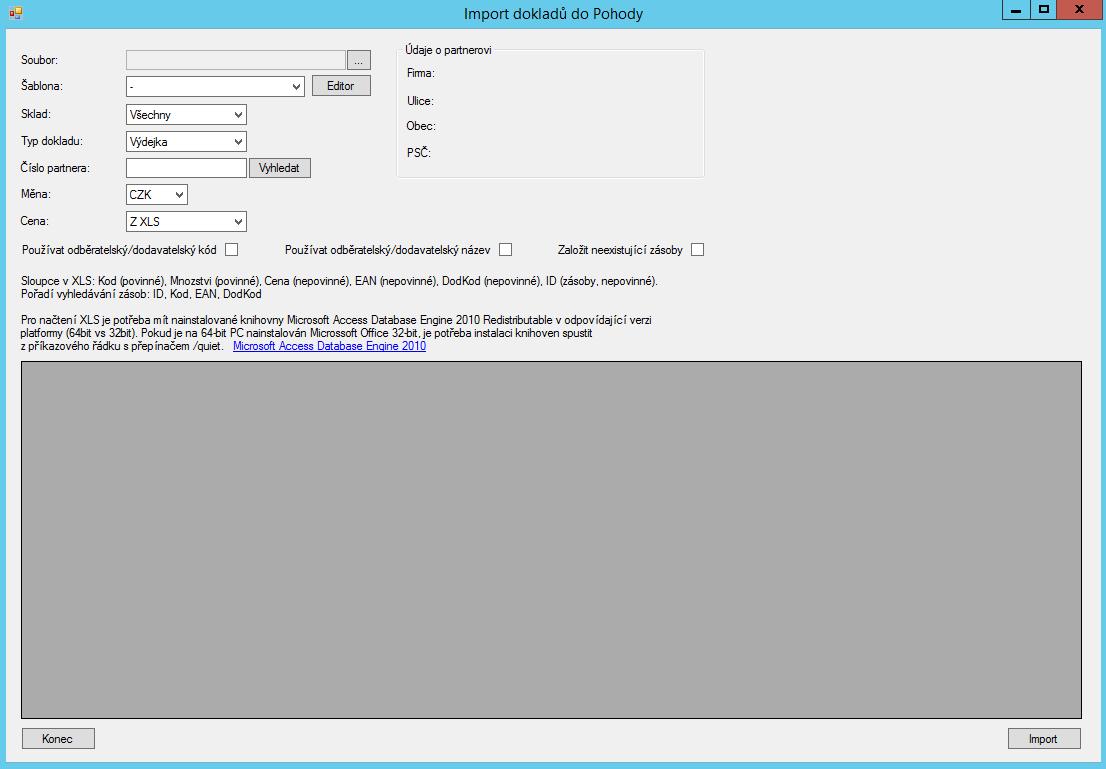Import dokladu - uzivatelske rozhrani