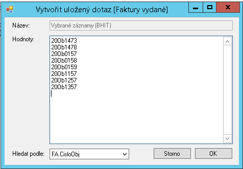 Uložení filtru - seznam objednávek