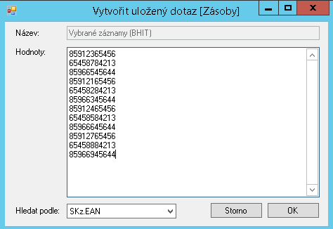 Uložení filtru - seznam EAN